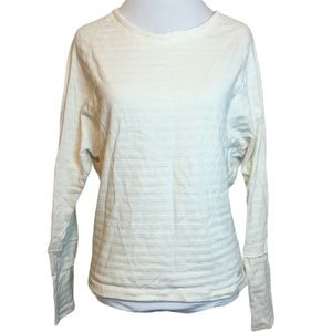 Avia White Striped Long Sleeve Activewear T-Shirt